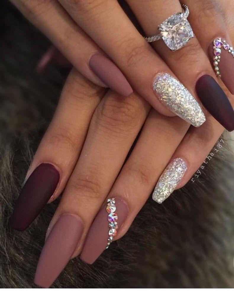 matt nails with bling fashion