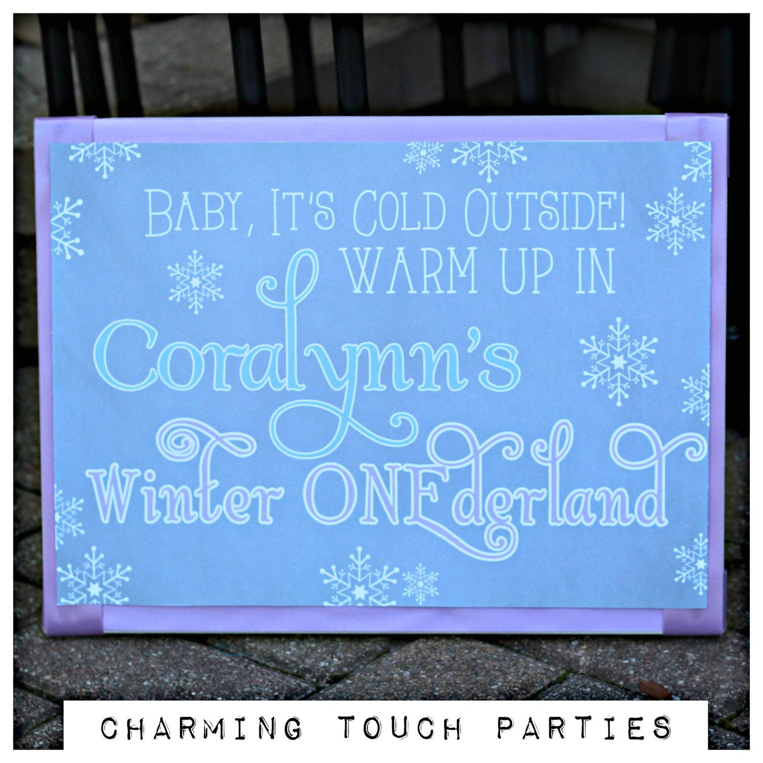 Winter Wonderland / ONEderland chalkboard style welcome sign by Charming Touch Parties.  11x17, professionally printed.  Customizable. by CharmingTouchParties on Etsy