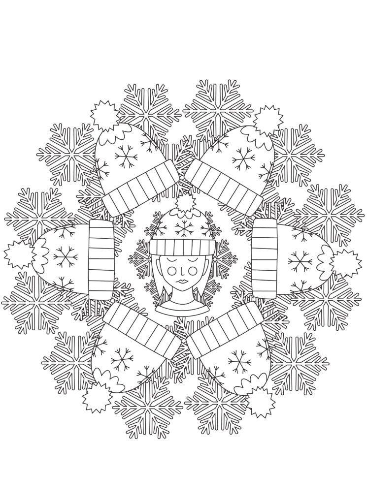 Winter Fun Snowflake Mandala Free Printable Adult Coloring