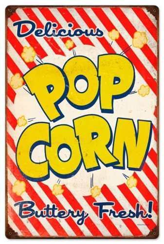 Retro Popcorn Metal Sign 16 x 24 Inches #retropop
