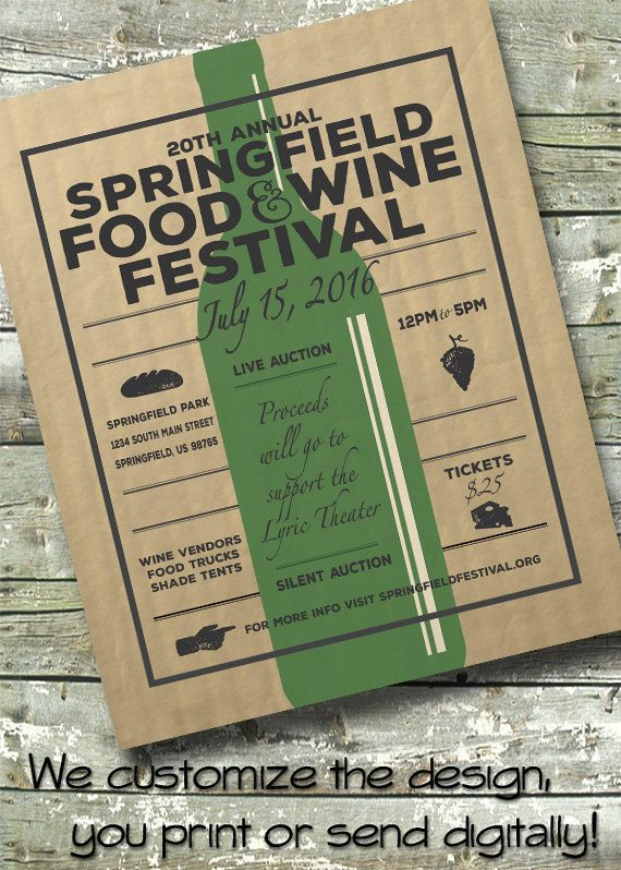 Food \ Wine Tasting ~ Wine Fest ~ Festival Fundraiser ~ 5x7 Invite - fundraiser invitation