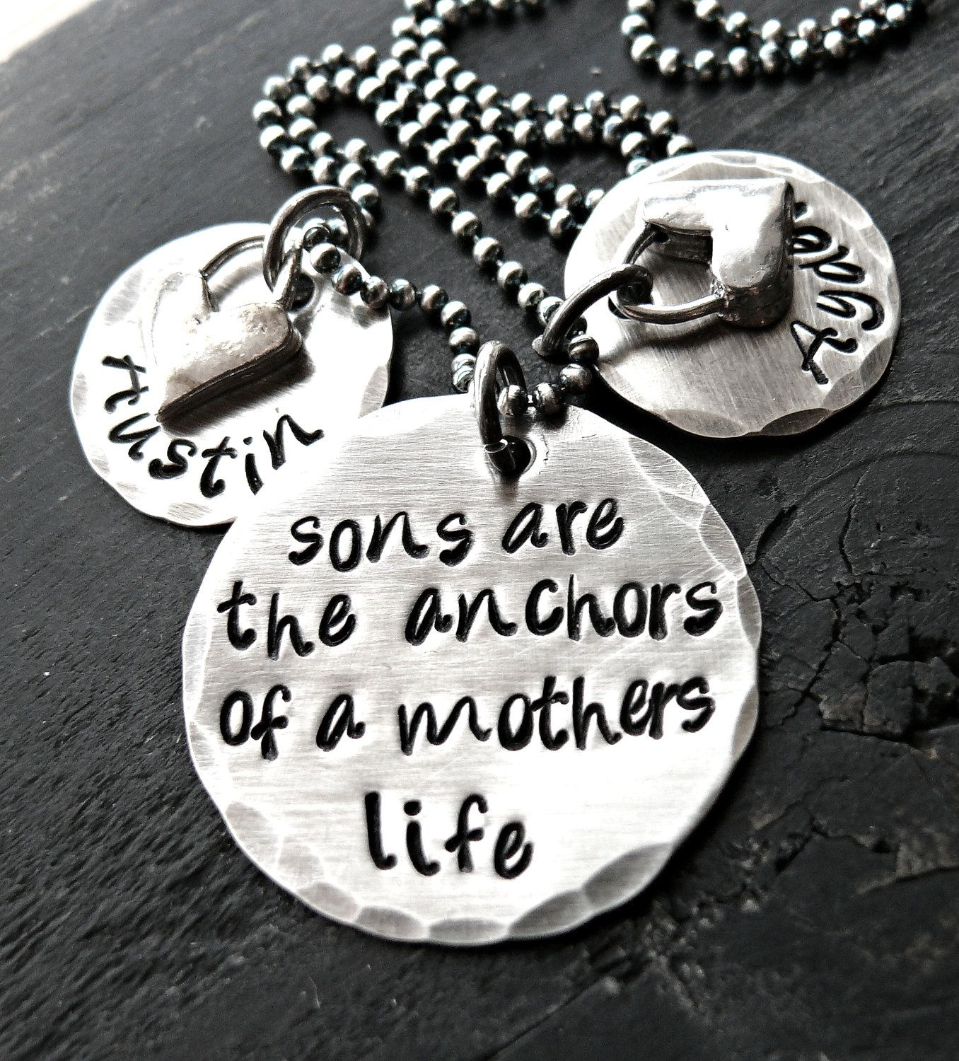 Hand Stamped Mother Son Necklace, Mother Son Jewelry, Personalized ...