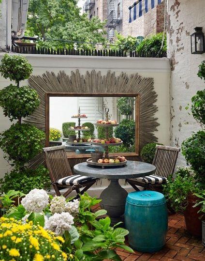 Gartendeko Ideen gartendeko ideen mit wandgestaltung garten mit spiegel na horta