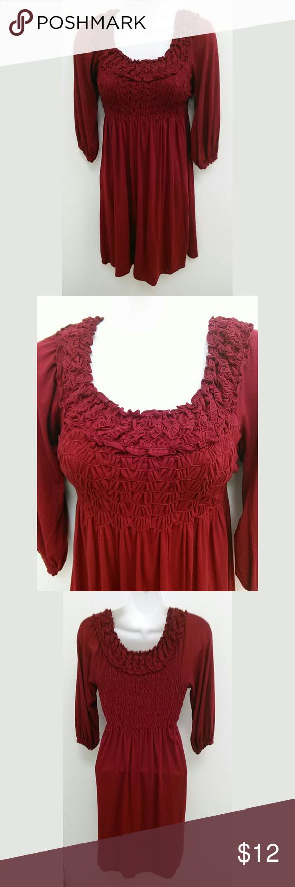 Burgundy red smocked dress sleeve xs my posh picks pinterest