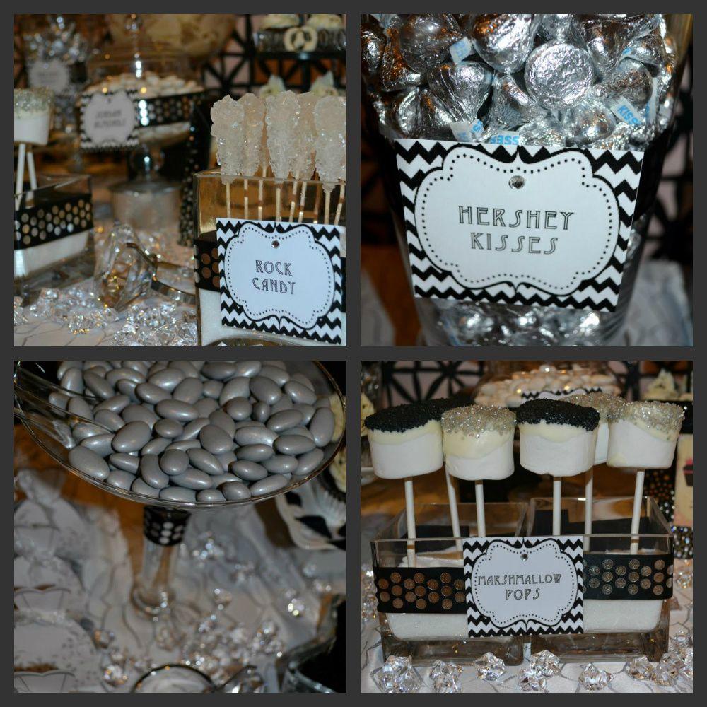 Black Silver White Wedding Candy Buffet Www 24caratcandybuffet Com White Candy Buffet Silver Candy Buffet Candy Buffet Wedding