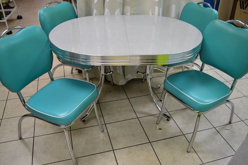 Medium image of reproduction chrome  u0026 arborite dining table with 4 chrome chairs upholstered in turquoise high grade vinyl