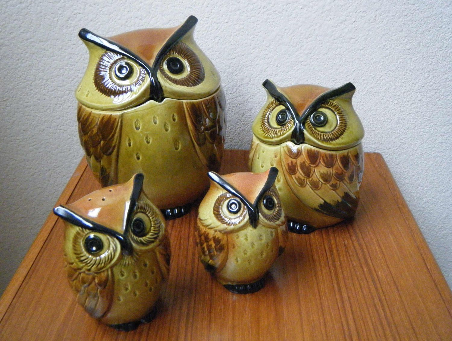 owl kitchen canisters metlox poppytrail ceramic owl kitchen set cookie 14495