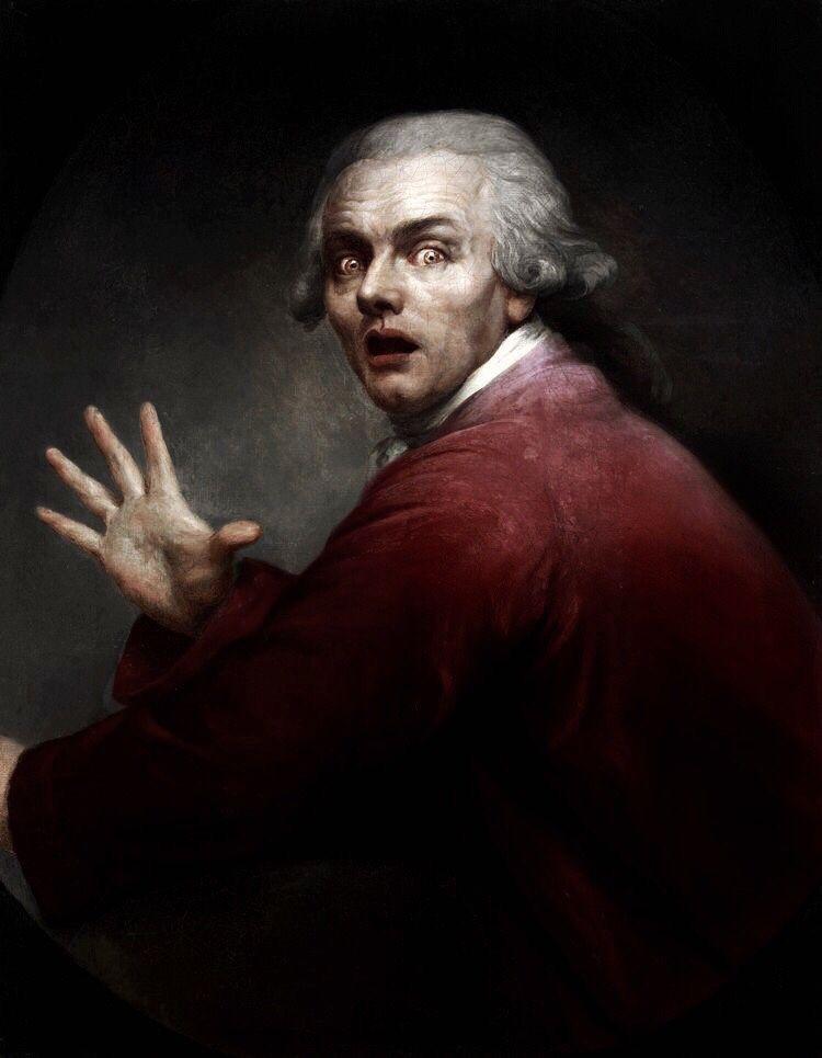 Joseph Decreux : joseph, decreux, Joseph, Ducreux, Self-portrait, Surprise, Terror, (1791), Paintings,, Portrait