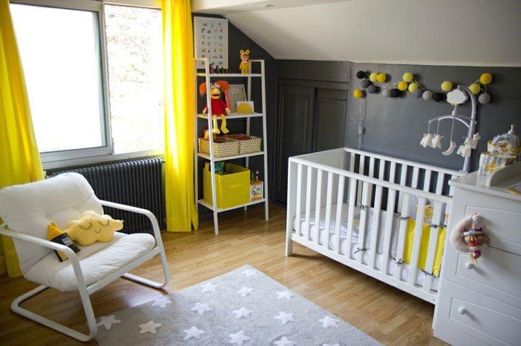chambre bébé grise jaune décoration | chambre | Pinterest | Kids ...