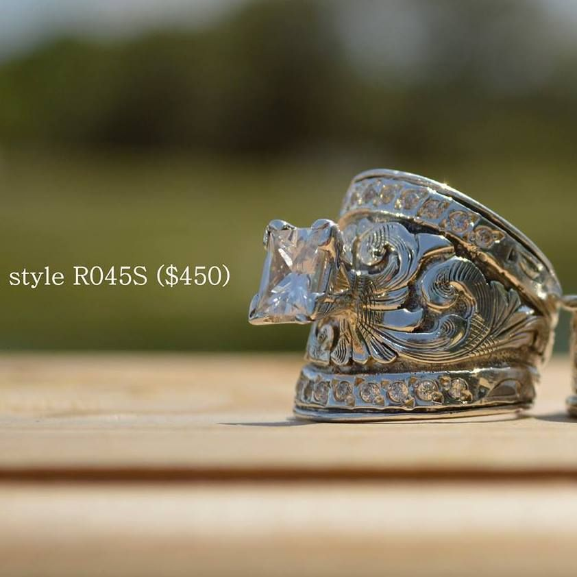 Western Sterling Silver Crystal Solitaire Ring W Oxidized Western Wedding Rings Western Rings Silver Rings