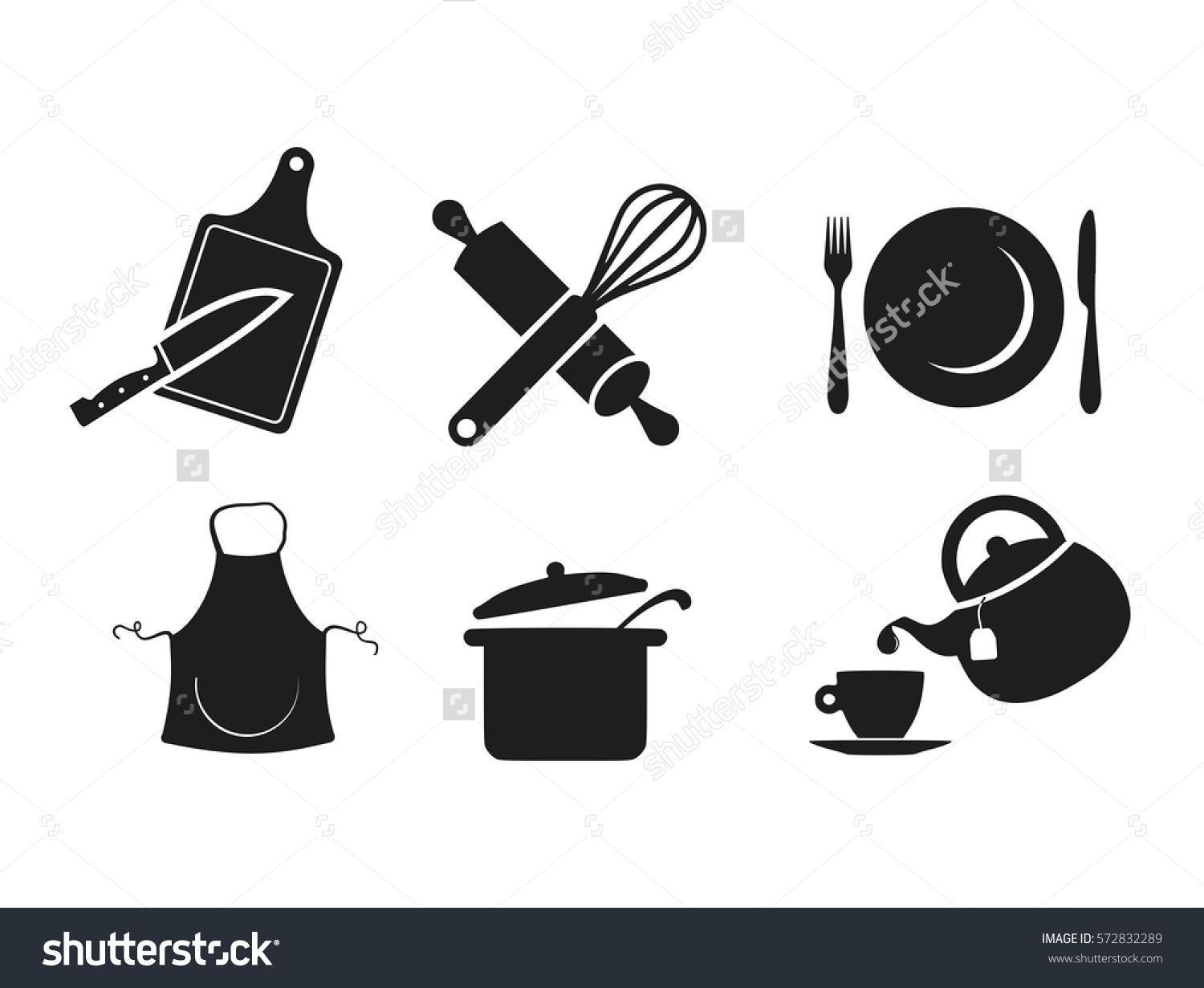 Kitchen icon set vector appliances  376f1bcbd6dc