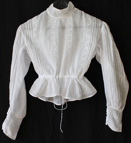 041dbb6c14d41f Antique Victorian Edwardian Sheer Lace Blouse Shirt - White Cotton Net 1900  for sale at Www.buckinghamvintage.co.uk lots more there.