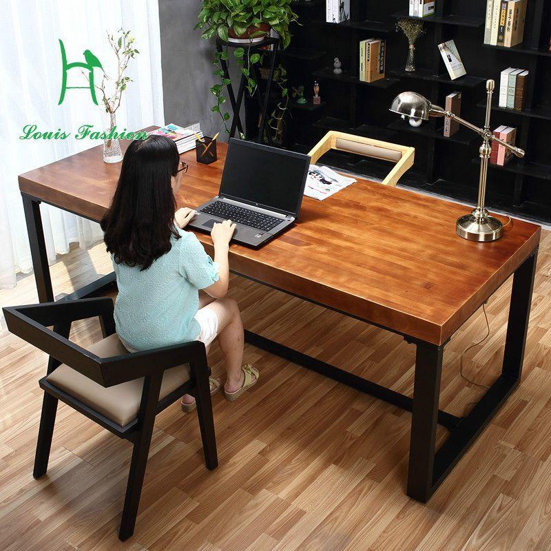 Pas Cher Pur Solide Bureau En Bois Simple Ordinateur De Bureau Vert Bureau D Etude A Domicile Meubles Burea Simple Computer Desk Wrought Iron Table Simple Desk