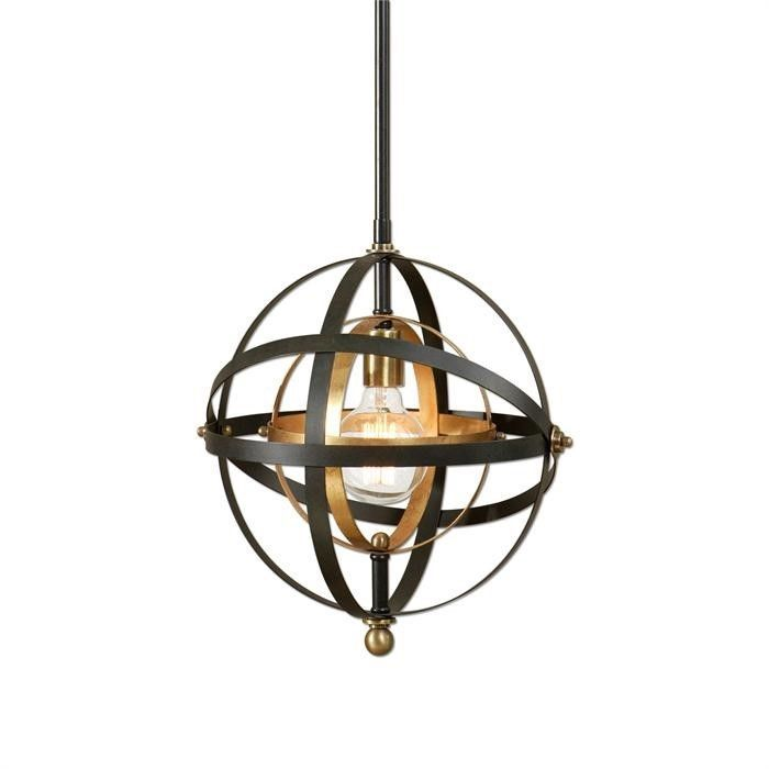 Round Metal Sphere Chandelier Orb Light Fixture Oil Rubbed Bronze Pendant New #Modern