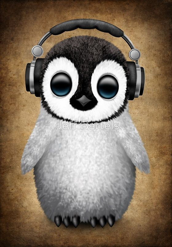 Cute Earphones Wallpaper Cute Baby Penguin Dj Wearing Headphones Art Print By