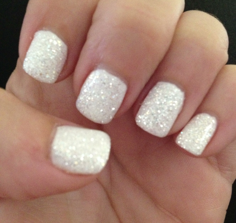50 Inspiring Winter Wedding Nails Ideas White Glitter Nails