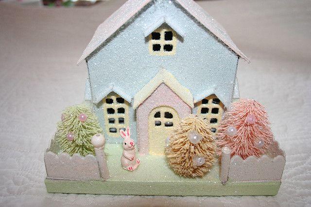 shabby Easter glitter house