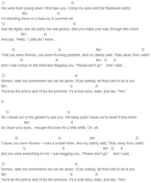Fearless Taylor Swift Love Story Chords Lyrics For Guitar Ukulele