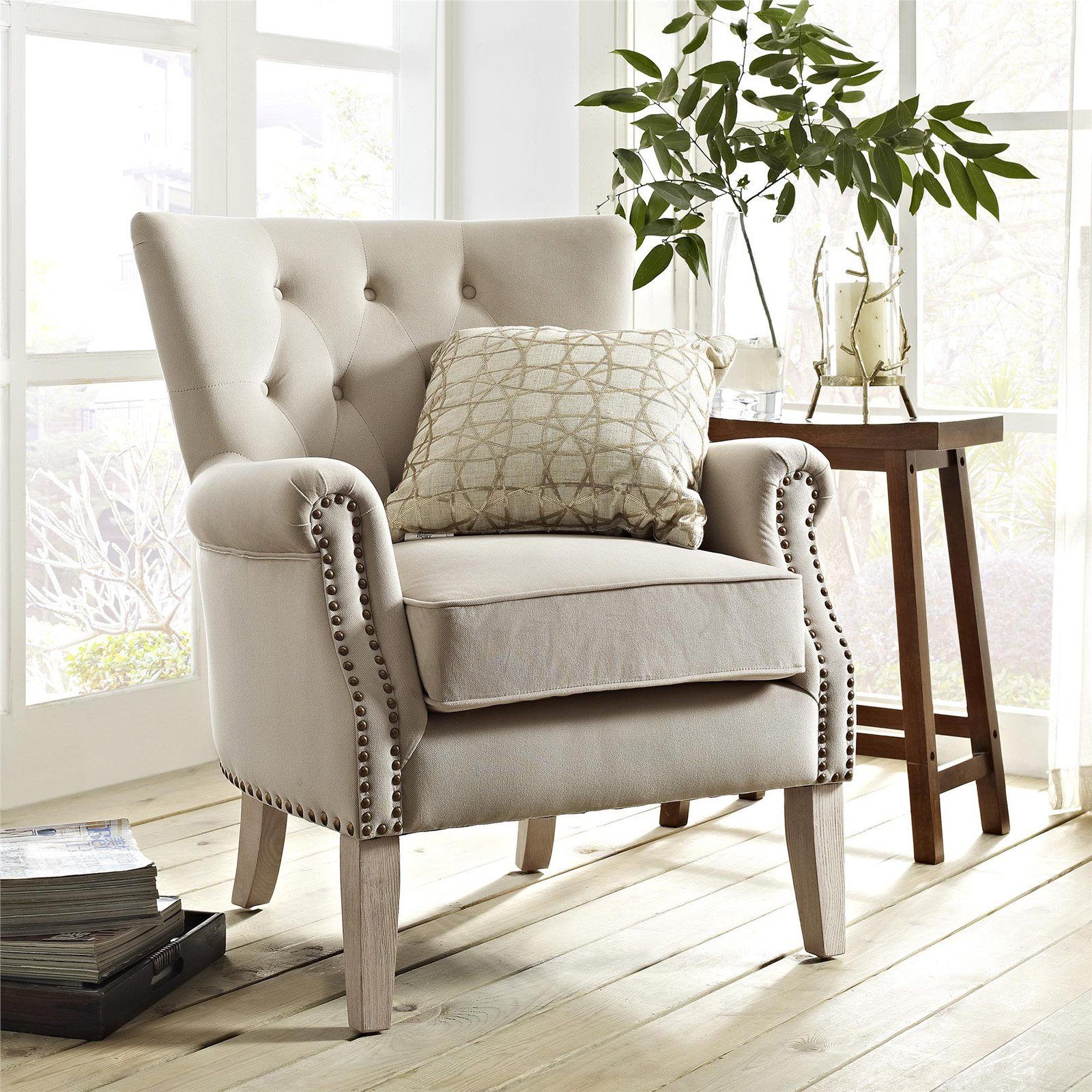 Better homes gardens rolled arm accent chair beige