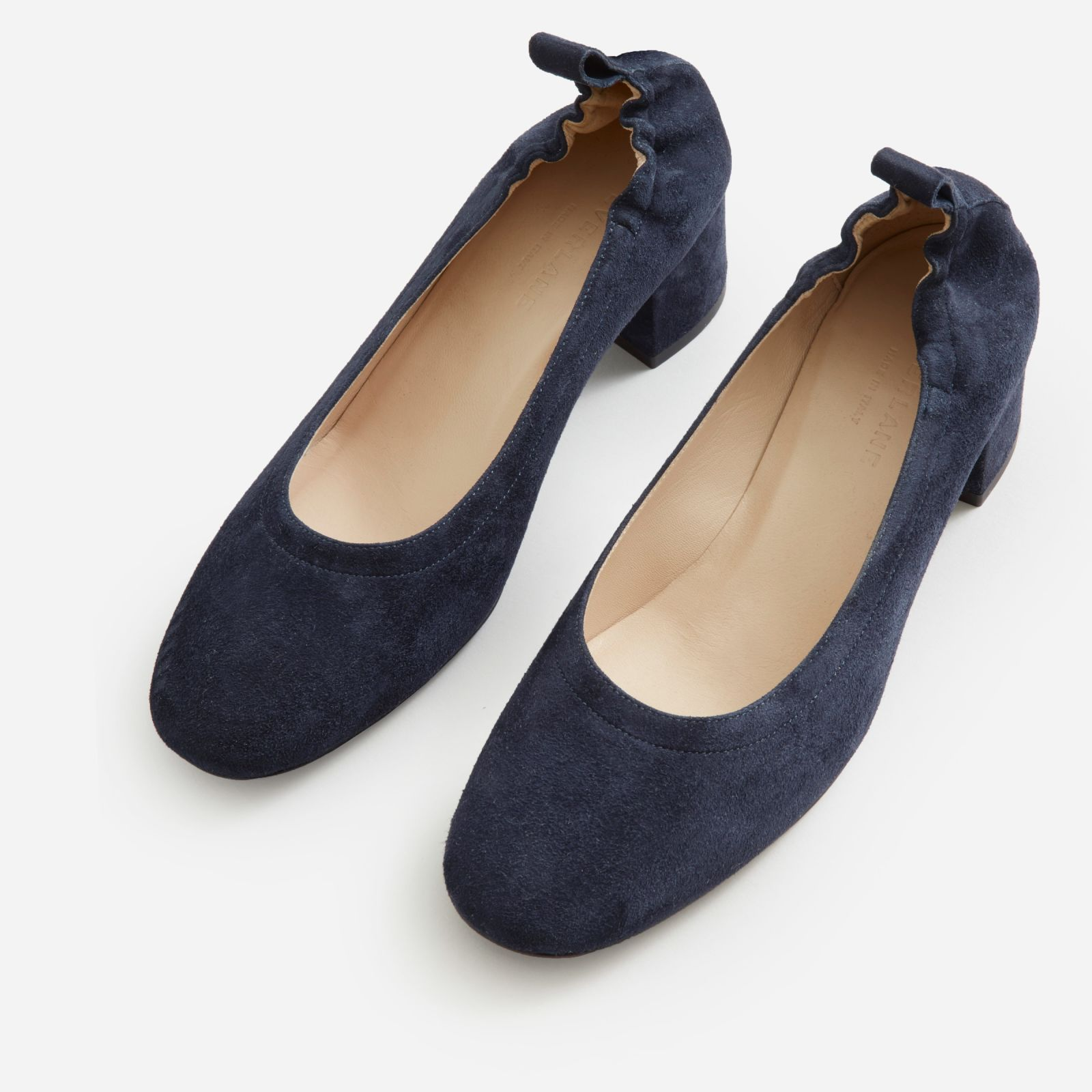 d3d939448c Women's Leather Block Heel Pump by Everlane in Navy Suede | Products ...