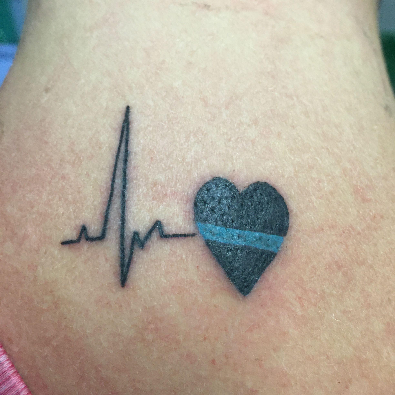 Thin Blue Line Tattoo Heart Tattoo