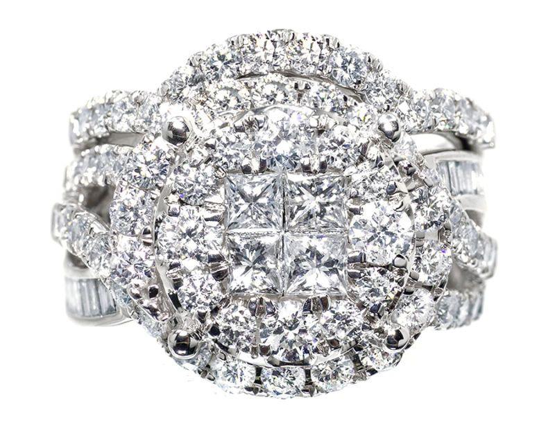 14k White Gold Ladies XL Cluster Diamond Bridal Wedding Engagement Ring Set 3ct