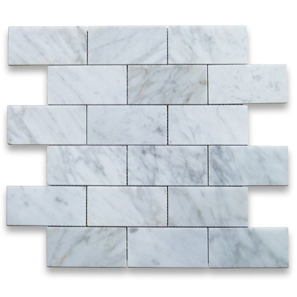 Carrara White Italian Carrera Marble Subway Brick Mosaic Tile 2 x 4 ...