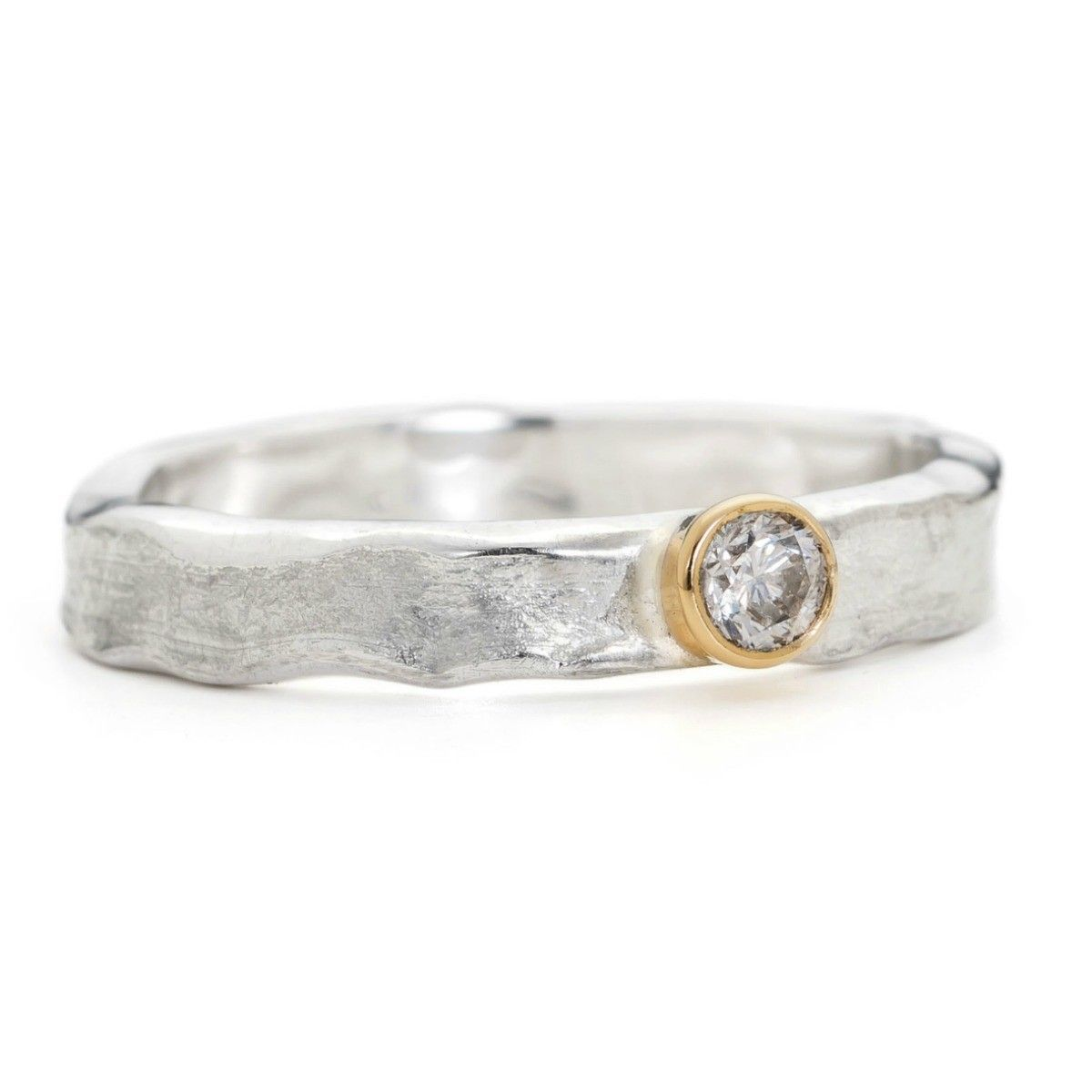 Handmade Diamond Ring 9ct Gold And Sterling Silver Set With A Gorgeous