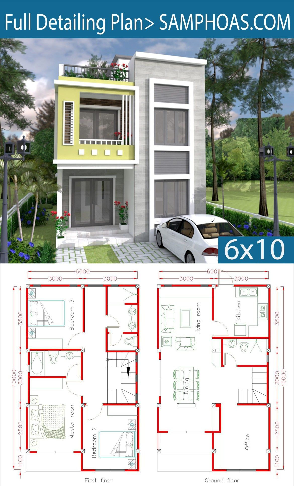 Home Design Plan 6x10m With 3 Bedrooms Samphoas Plansearch Duplex House Plans House Plans Model House Plan