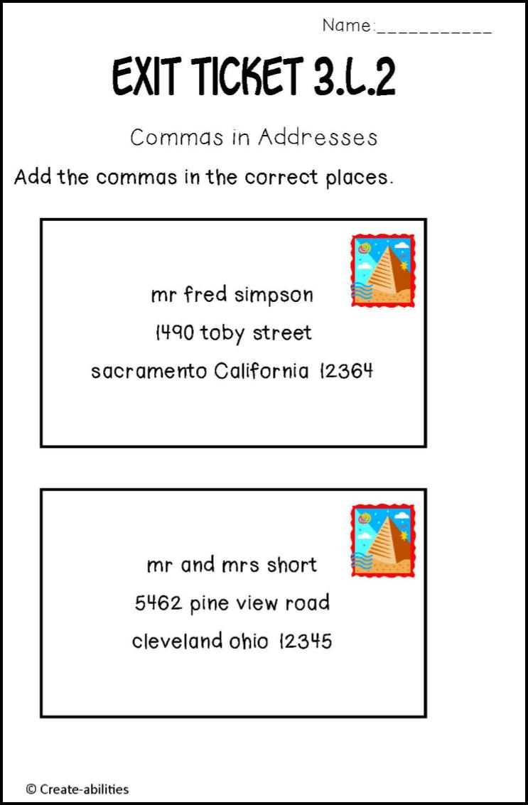 medium resolution of Adding commas into addresses. My kids need this! $   Third grade reading
