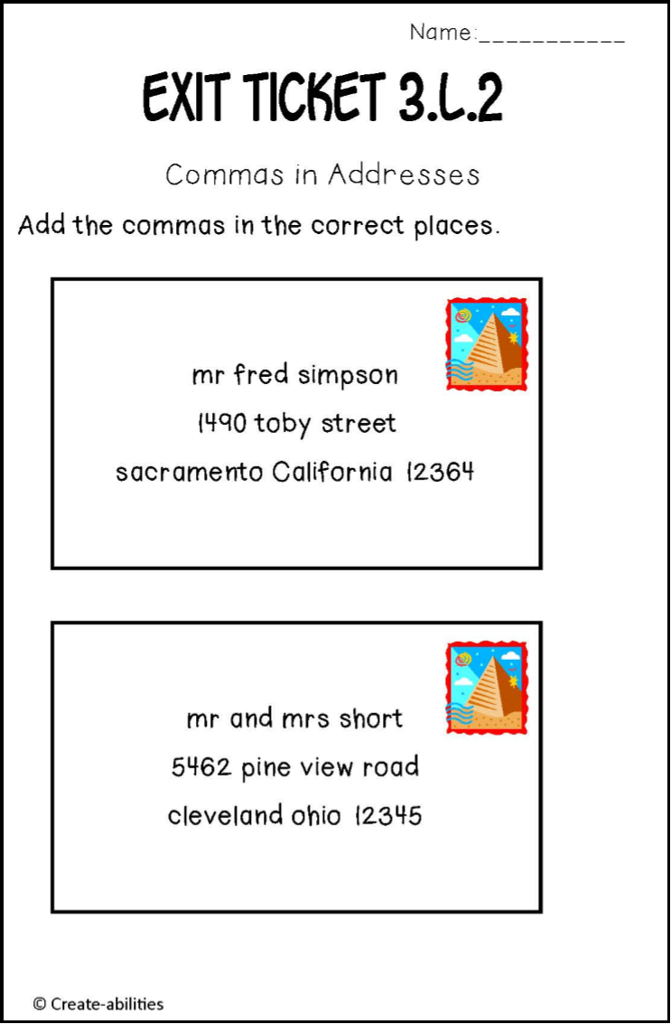hight resolution of Adding commas into addresses. My kids need this! $   Third grade reading