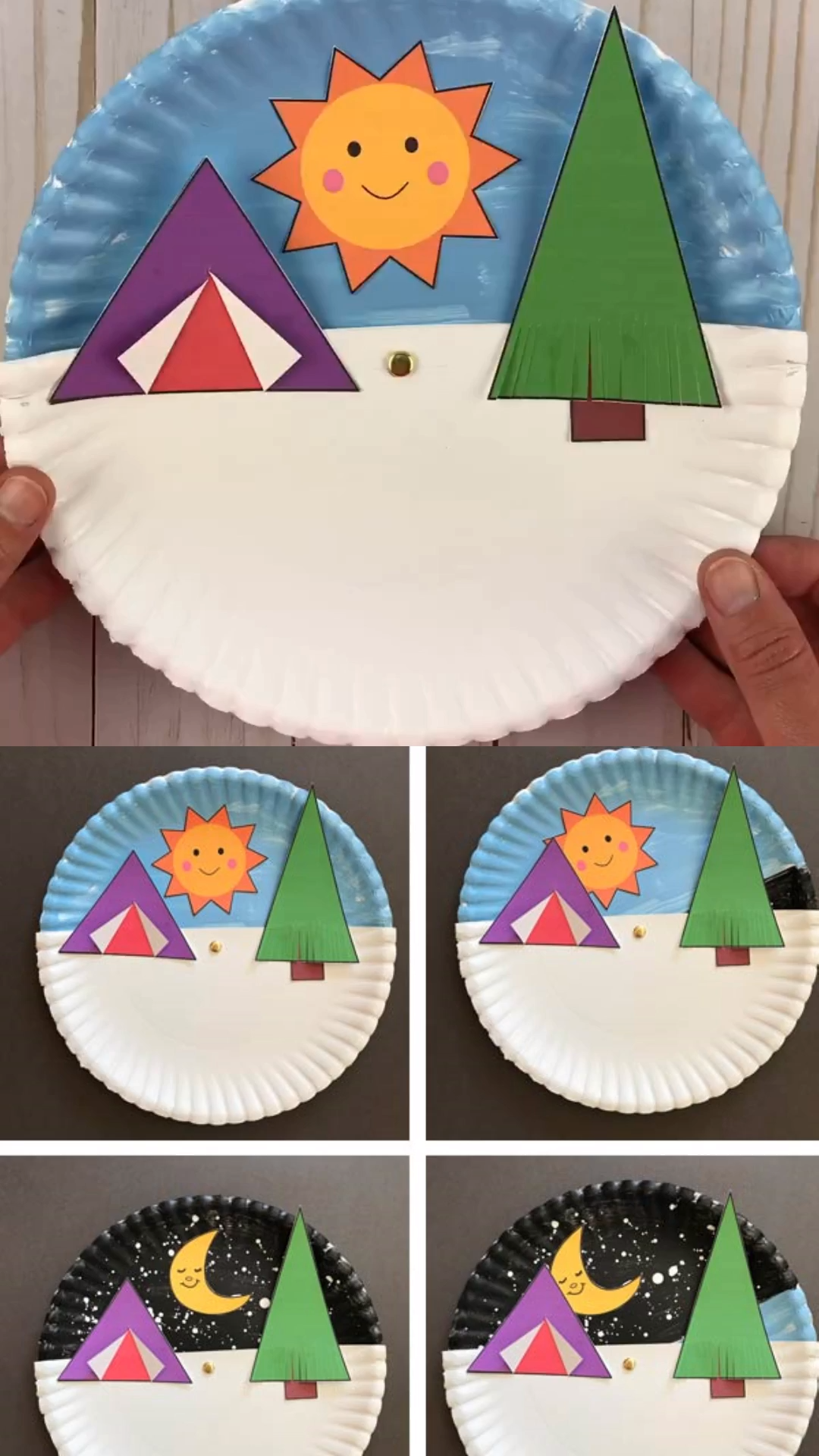 Paper plate day and night summer camping craft for kids. Interactive craft with printable template. Great to get preschoolers and older kids excited over outdoor summer fun, smores, campfire and tents. #campingcraft #paperplatecraft
