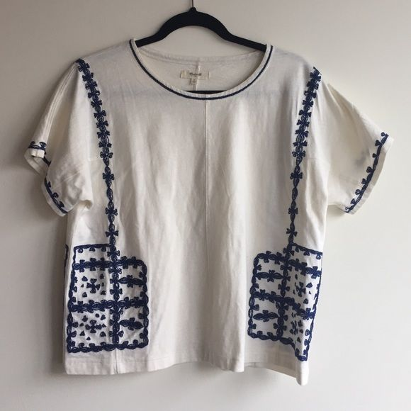 8680e21f17e141 Madewell embroidered top Only worn once! White top with blue embroidery  Madewell Tops
