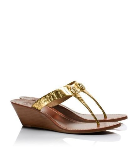 943225785 Tory-Burch-Gold-Leather-Cameron-Logo-Wedge-Thong-Sandal -8-Display-May-Fit-7-5