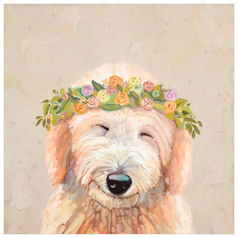 Best Friend Spring Golden Doodle Wall Art Labradoodle Art