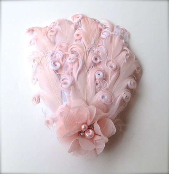 Blush pink feather clip with pearls and by TutusChicBoutique