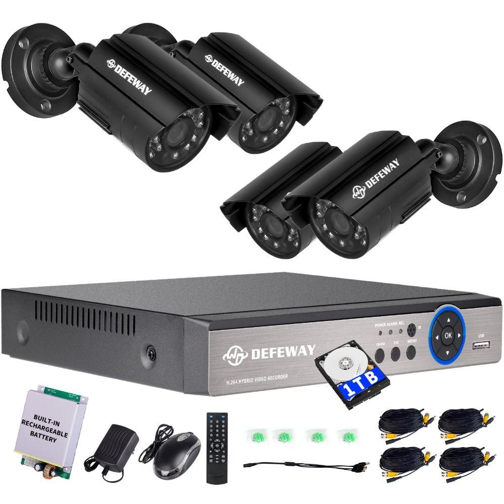Defeway 4ch 720p Output Dvr Waterproof 1200tvl Night Vision Camera Cctv Syst Home Security Camera Systems Outdoor Security Camera Outdoor Home Security Cameras