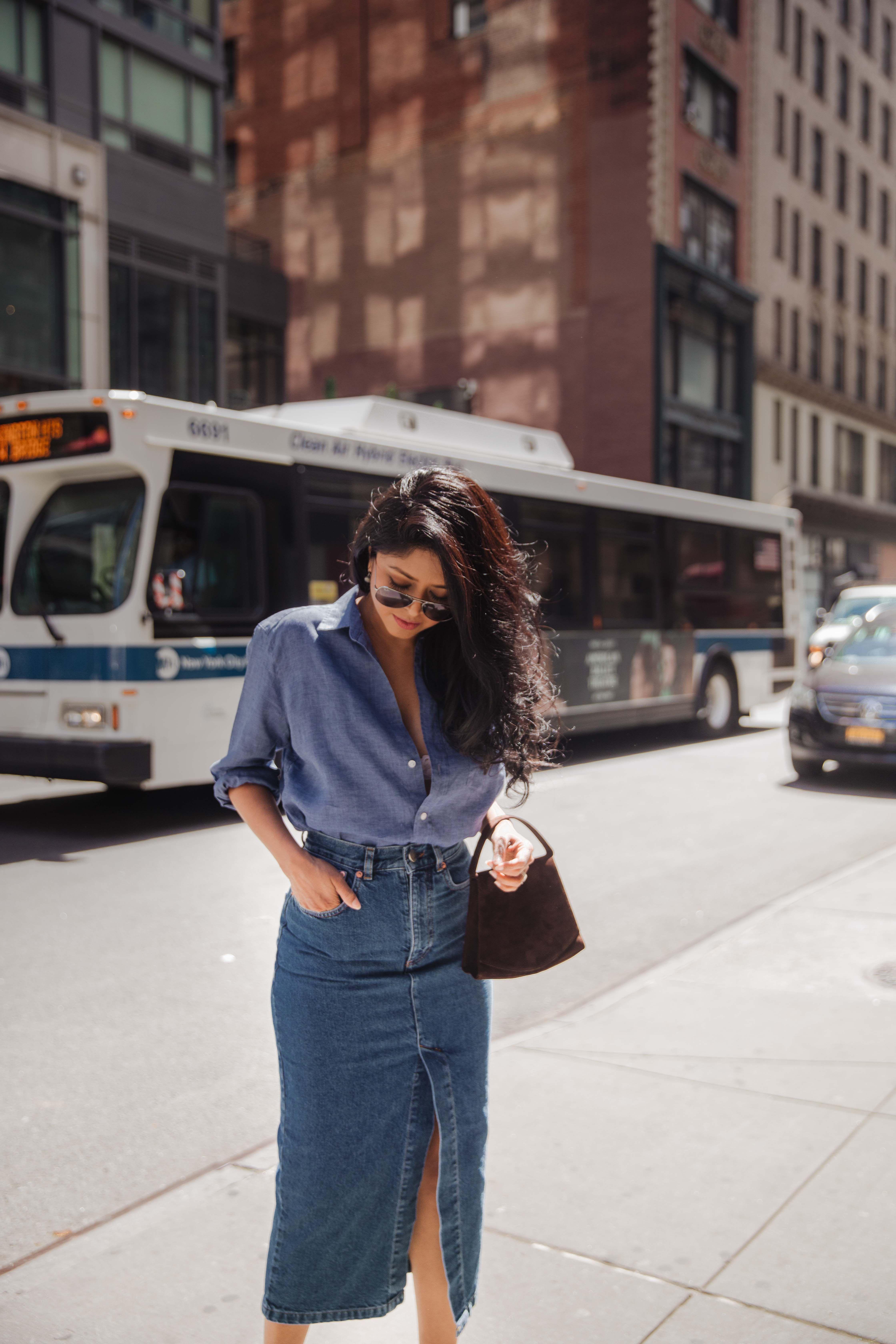 2470a264e2 Denim Midi Skirt (Walk In Wonderland) | LA Fashion Bloggers | Midi ...
