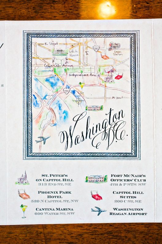 Washington Dc Wedding Map Momental Hand Painted Invitations More David