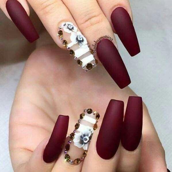 Burgundy matte nails | Nails | Pinterest | Diseños de uñas, Arte ...