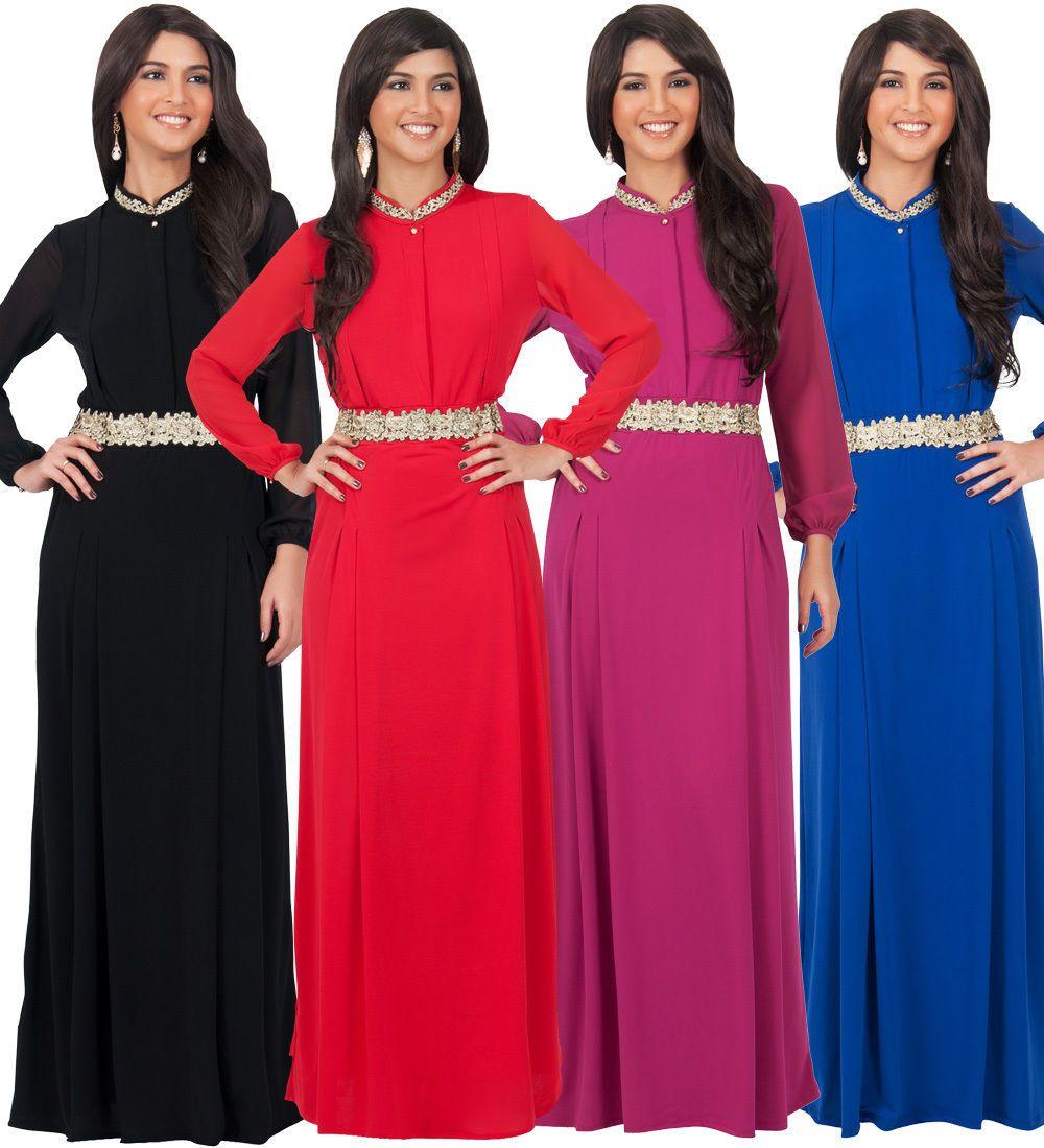 Womens long sleeve belted evening modest elegant formal flowy winter