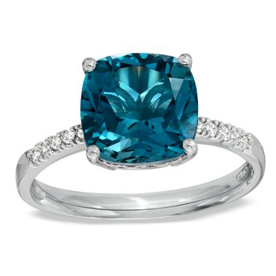Zales Oval Sky Blue Topaz and Diamond Accent Ring in Rose Rhodium Sterling Silver OAlTw