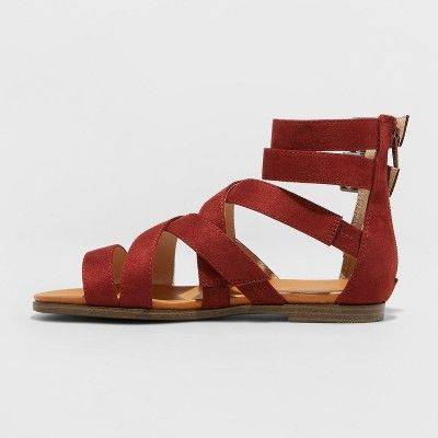 e61c0e659 Women s Rosalee Microsuede Wide Width Gladiator Sandals - Universal Thread  Rust (Red) 6.5W
