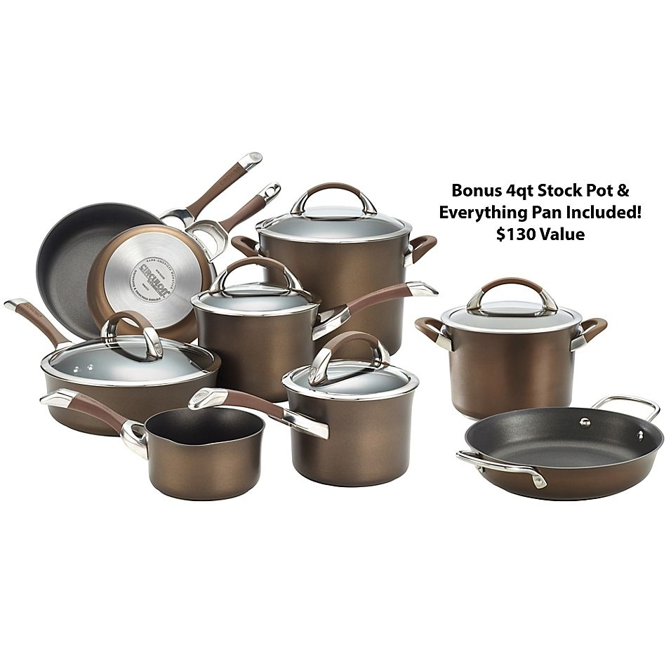 Circulon Symmetry Nonstick Hard Anodized 11 Piece Cookware Set In Chocolate Hard Anodized Cookware Cookware Set Induction Cookware Circulon symmetry chocolate hard anodized nonstick 11 piece cookware set