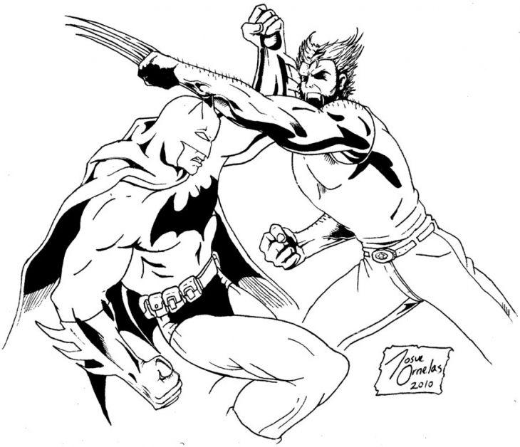 Wolverine Fighting Batman Coloring Page  Superheroes Coloring