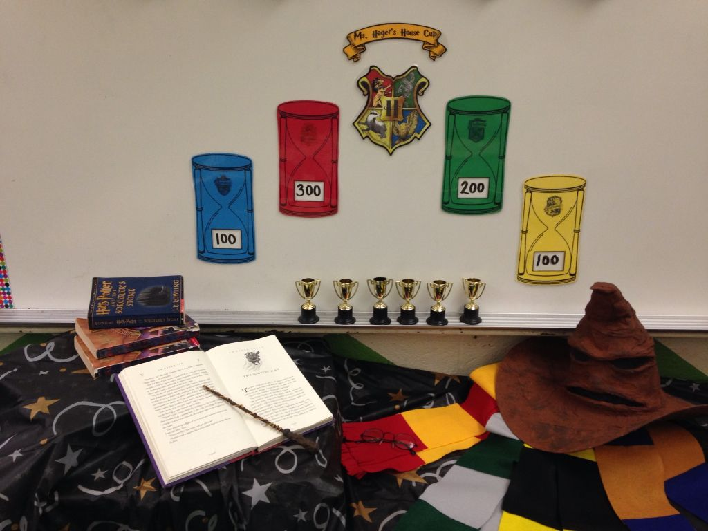 Harry Potter In The Classroom Hold A Sorting Ceremony Complete With House Scarves And A Talking Harry Potter Classroom Harry Potter School Classroom Themes