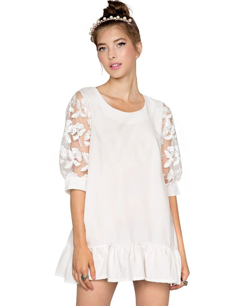 fd3f6a833b692 Pixie Market White Organza Baby Doll Dress - Lace Day Dress  pixiemarket.com