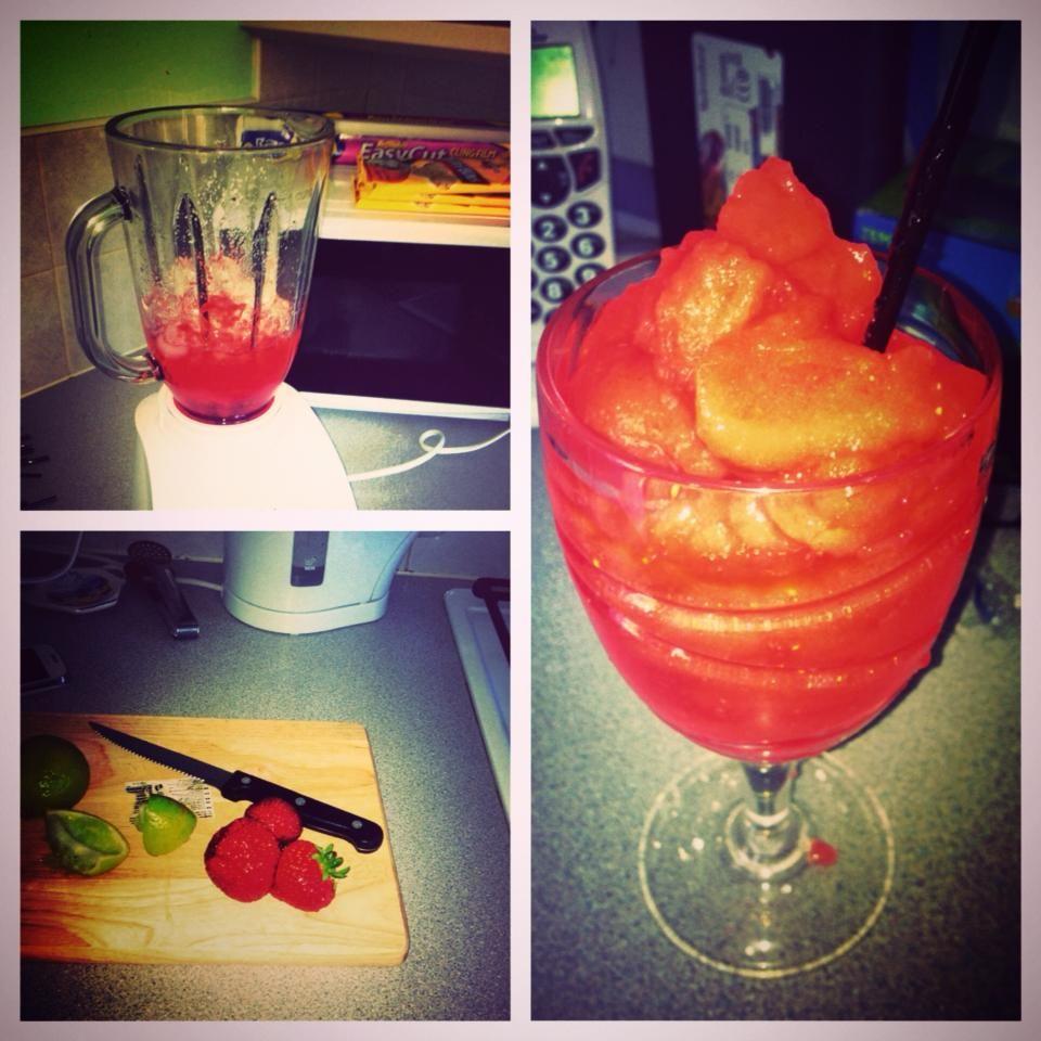 Homemade Daiquri's Rum, Strawberries, Sugar, Lime Juice