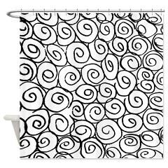 Twirl roll circle patterns Shower Curtain> Twirl rose pattern in black and white> Victory Ink 2