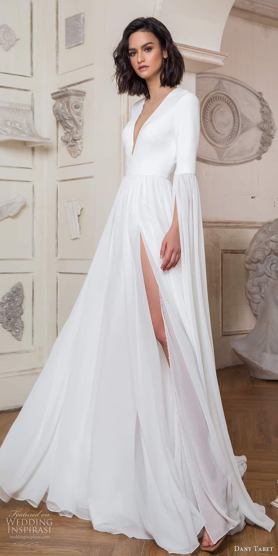Dany Tabet Spring 2020 Wedding Dresses Goddess Bridal Collection Wedding Inspirasi Long Sleeve Satin Wedding Dress Chiffon Wedding Gowns Lace Wedding Dress With Sleeves [ 1800 x 900 Pixel ]